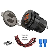 Quick Charge 3.0 Dual USB Car Charger Socket with Colorful Voltmeter /& ON//Off Switch Black LiDiVi Upgraded Version 12V USB Outlet for Car Marine Boat Motorcycle ATV Bus Truck and More