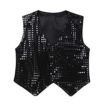 Image Unavailable. Image not available for. Color  Freebily Kids Boys  Glittery Sequined Vest Jacket Dance Party Show Fancy Costume Stage ... 66b904b40aa1