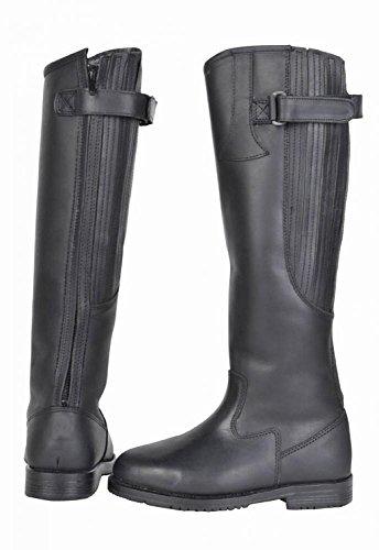 pelle HKM elastico Inverno stivali con inserto in equitazione nero da A8X8TR1