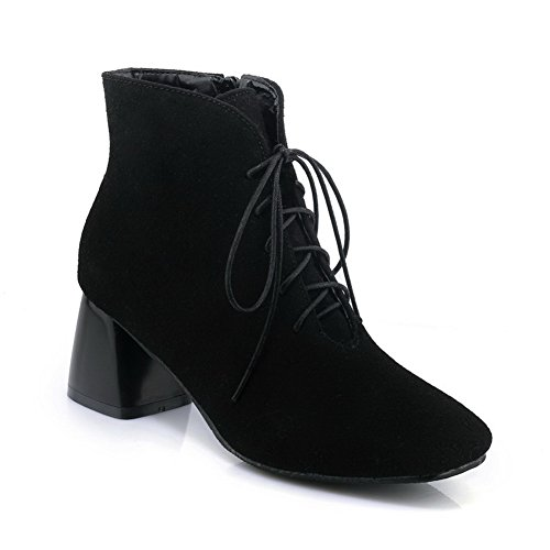 Urethane Heeled Cuff 2 Womens Water amp;N Boots Strap Urethane Boots A Toe DKU01767 Resistant Black Warm AN Not Fashion Closed Lace Adjustable 4 Up Lining Ankle 1vaHwWx