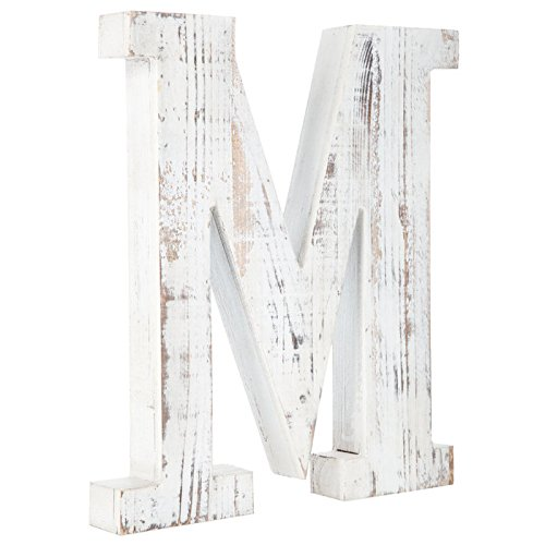 Distressed White Alphabet Wall Décor/Free Standing Monogram Letter M -
