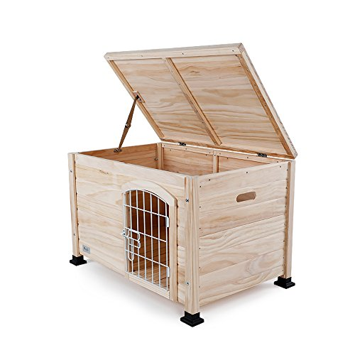 Petsfit Indoor Wooden Pet House with Wire Door, 1-Year Warranty