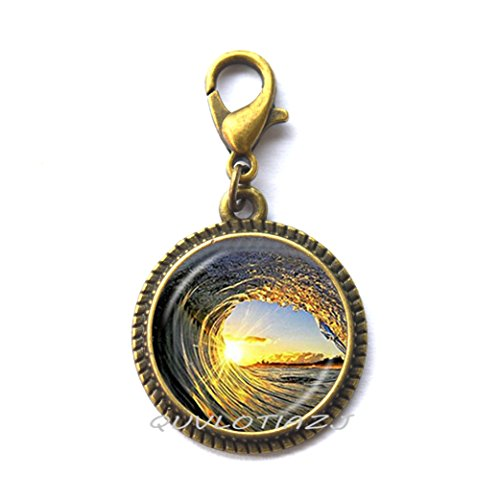 Cabochon Clasp - QUVLOTIAZJ Waves and Sunset Lobster Clasp,Wave Zipper Pull,Surf Surfing Ocean Jewelry,Surfing Lobster Clasp,Glass Cabochon,art jewelry glass jewelry,ot269 (A2)
