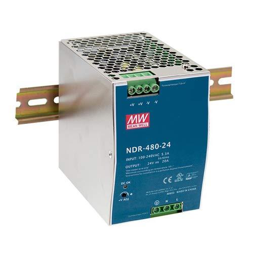 MEAN WELL Industrial DIN Rail Power Supply, 24 Volt 20 Amp 480 Watt - NDR-480-24