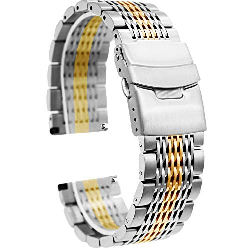 22mm Dress Watch Band, Stainless Steel Bracelet Watch Men Replacement Distinctive Metal Strap Fold Over Clasp Silver IP Gold Mesh Watch Bracelet