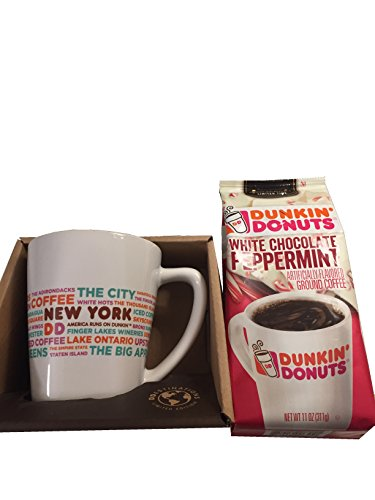 Dunkin' Donuts White Chocolate Peppermint Ground Coffee, 11 oz and Limited Edition Destination Mugs - New York Gift Bundle