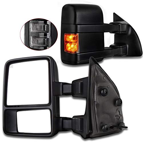 SCITOO Power Heated LED Smoke Signal Towing Mirrors fit 03-07 Ford F250 F350 F450 F550 Super Duty Side View Mirror Pair ()