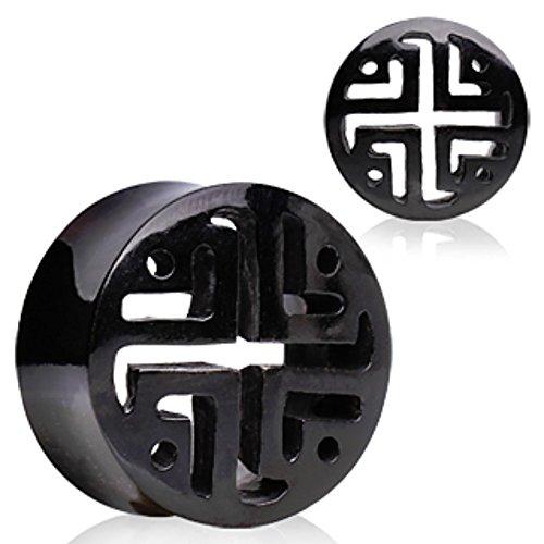- Buffalo Horn Flesh Tunnel Ear Plug with Latticework Pattern