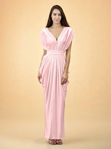 Alicepub Maxi Il Increspato Le Del Per Wrap Donne shell Rosa Da Dress V Caviglia Collo Maglia Casuale zBxEpv