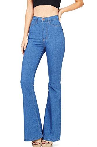 (Meilidress Womens Juniors Bell Bottom High Waist Flare Fitted Denim Jeans Blue)
