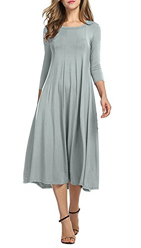 Doramode Womens 3 4 Sleeve Midi Full Crew Neck Swing Mid Loose Pinup Casual Spandex Dress Grey Size 6