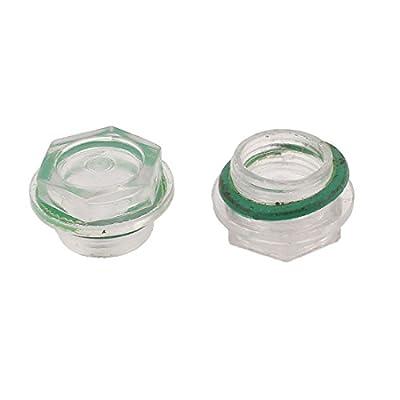 Uxcell a15112600ux0111 Air Compressor Oil Level Liquid Sight Glass, 25 mm Threaded Diameter, 2 Piece