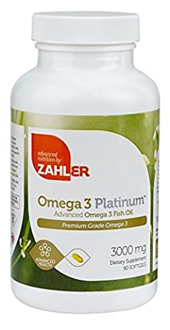 Zahler Omega 3 Platinum 3000mg, Triple Strength All-Natural Pure Fish Oil Supplement, Burpless Softgel with No Fishy Aftertaste, Highest in EPA and DHA, The #1 Strongest Best Quality Fish Oil, Certified Kosher,90 (Platinum No 1)