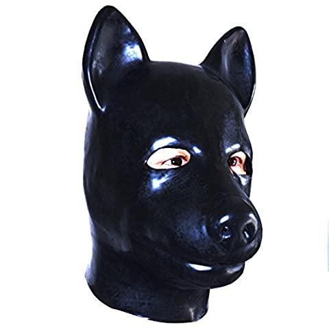ECOSPLAY Latex Hood Dog Animal Rubber Mask Fetish Accessories with Zipper Closure (Mens Nero Cervo)