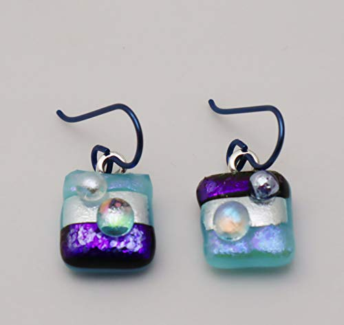 Cute Petite texture fused aqua blue purple dichroic glass bubble dot dangle Niobium earrings #286