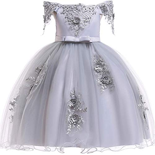 Toddler Girl Dresses 7-16 Special Occasion Formal Prom Ball Gowns 6 Years Old Sleeveless Ruffles Tutu Tulle Lace Dress for Wedding Birthday Party 4-7T Flower Spring Holiday Girls Dress (White -