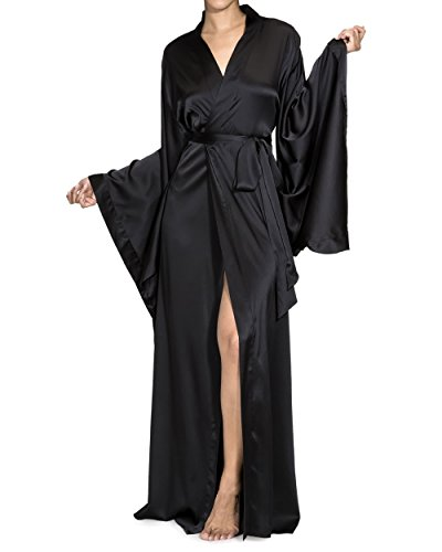 - Nudwear Long Kimono Robe for Women Luxury Silk with Japanese Sleeves Black