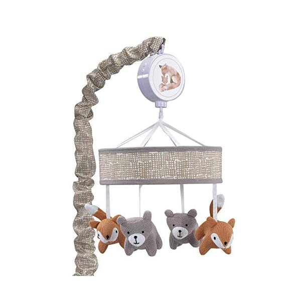 Lambs & Ivy Painted Forest Gray/Beige Fox and Bear Baby Crib Musical Mobile