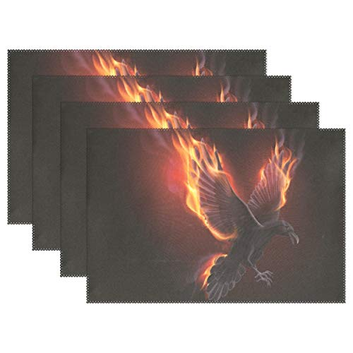 WIHVE Placemats Black Raven Fly in The Flame