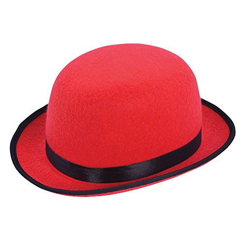 Hat Clown Bowler - Red Adults Clown Bowler