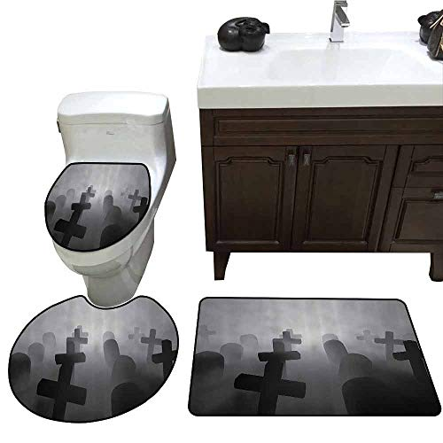 U-Shaped Toilet Floor Rug Set Horror House Decor Render of a Graveyard Tombstone Funeral at Night Spooky Ghostly Grunge Picture Printed Rug Set Gray
