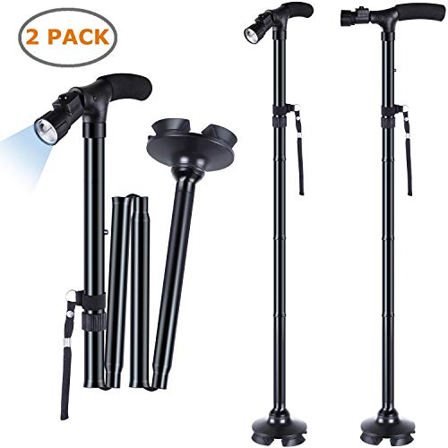 2-Pack LED Folding Walking Cane, Ohuhu Folding Walking Cane with LED Light, Adjustable Walking Stick with Carrying Bag for Fathers Mothers Gifts reviews