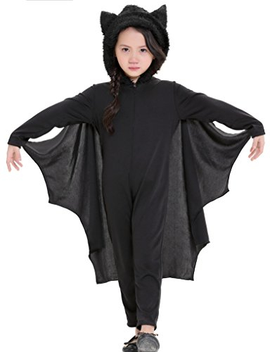 Sorrica Kids Halloween Vampire Bat Cosplay Masquerade Costume Hooded Romper Cloak Outfits (XL/Height 55.1