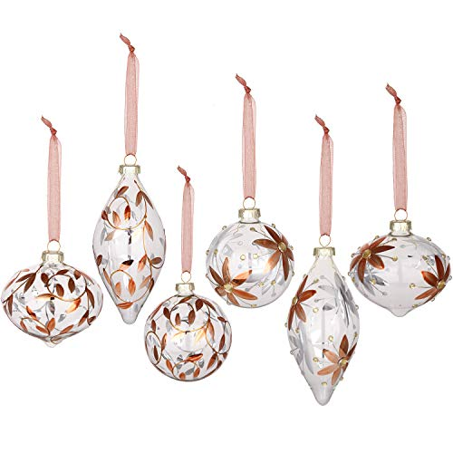 Sea Team Christmas Clear Glass Ball Ornaments Finial Drops Pendants with Rose Gold Floral Designs for Xmas Tree Decorations, 70mm/2.76-inch, Set of 12