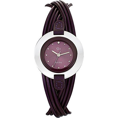GO Girl Only 698115 - Reloj analógico de cuarzo para mujer con correa de piel, color morado: Amazon.es: Relojes