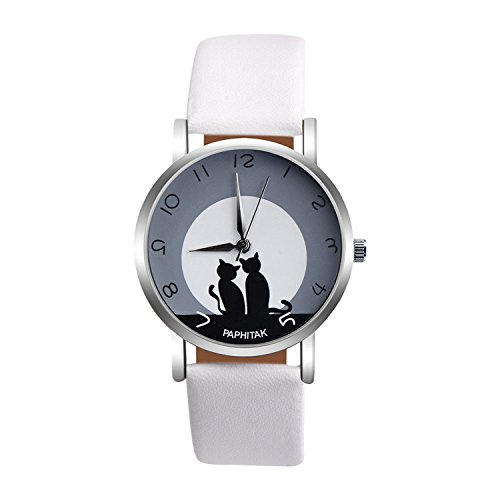 37mm Watch White Dial (Womens Quartz Watches,PAPHITAK Cute Cat Pattern Unique Analog Fashion Clearance Lady Watches Female watches on Sale Casual Wrist Watches for Women Comfortable PU Leather Cat Watch-H50 (White))