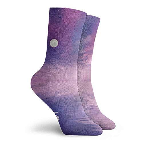Novelty Socks for Men and Women Space Stars and Full Moon Spectacle Work Socks -