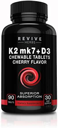 Vitamin K2 mk7 + D3 - Cherry Flavored Chewable Tablets for Superior Calcium Absorption - Supports Bone & Cardiovascular Health - Serving Size K2 225 mcg, D3 6000 IU