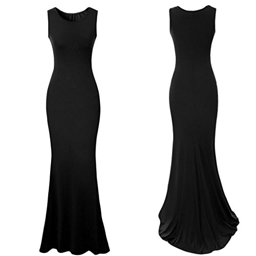 M-Egal Women Elegant Long Evening Dresses Sleeveless Wedding Party Dress Formal Dress Black XL