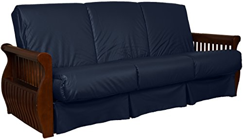 Laguna Perfect Sit & Sleep Pocketed Coil Inner Spring Pillow Top Sofa Sleeper Bed, Full-size, Walnut Arm Finish, Leather Look Navy Blue Upholstery Leather Walnut Bed