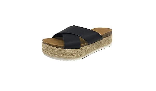 LILICAT✈✈ Mujer Sandalias de cuña,Zapatos del Verano,cómodo,Plana 2019 Nuevos Zapatos de Gran tamaño, Sandalias y Zapatillas de Playa con césped Plano ...
