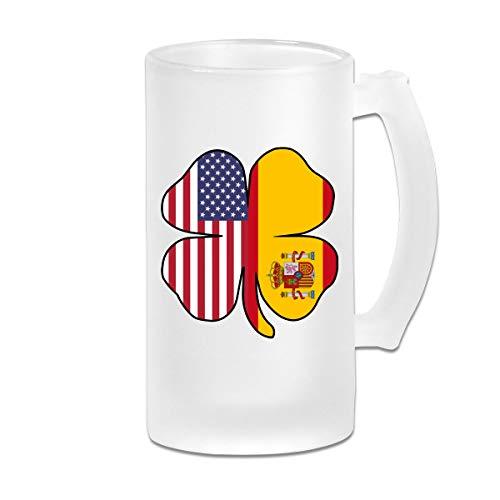 American Spain Flag Shamrock Frosted Glass Stein Beer Mug - Personalized Custom Pub Mug - 16 Oz Beverage Mug - Gift For Your Favorite Beer Drinker