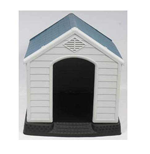 no!no! Plastic Indoor Outdoor Dog House Small to Medium Pet All Weather Doghouse Puppy Shelter White, Blue Roof