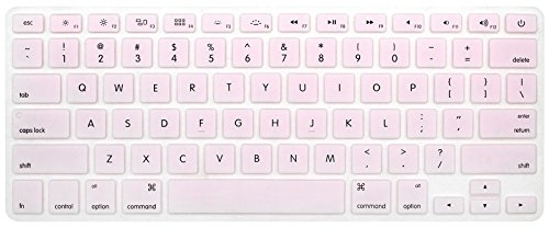 HRH Silicone Keyboard Cover Skin for MacBook Air 13,MacBook Pro 13/15/17 (with or w/Out Retina Display, 2015 or Older Version)&Older iMac USA Layout,Light Pink