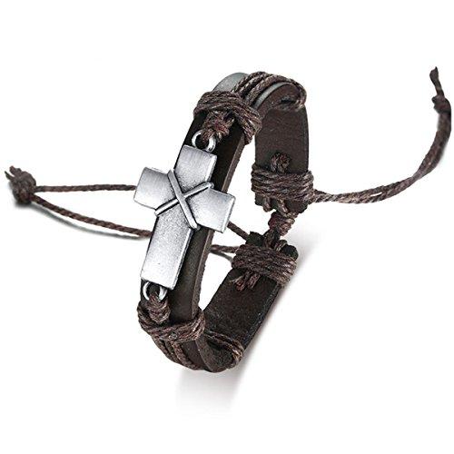 Celokiy Vintage Alloy Cross Leather Bracelet Wristband Handmade Woven Rope,Unisex,Adjustable