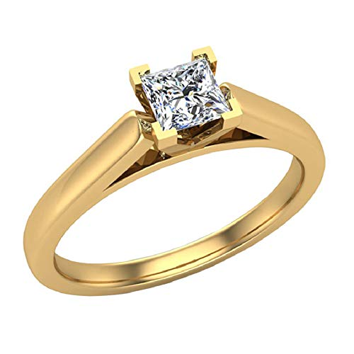 Princess cut Diamond Engagement Ring for women 1/4 Carat 14K Yellow Gold 4 prong Solitaire Setting (G Color, I1 Clarity) (Ring Size - Princess Diamond Ring Designs Cut