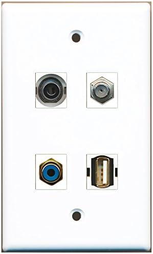 1 Port RCA Blue 1 Port Coax Cable TV RiteAV F-Type 1 Port USB A-A 1 Port 3.5mm Wall Plate
