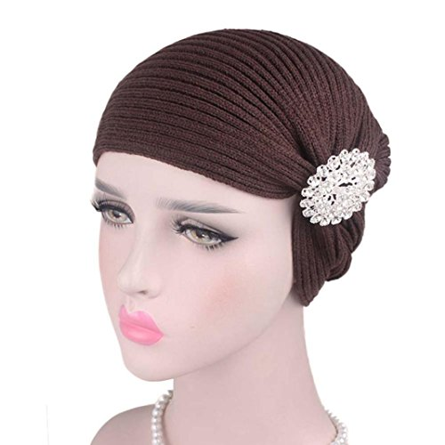 Unpara Muslim Wool Hat Glitter Alloy Drill Accessories Head Wrap Scarf Caps Chemotherapy Cap (Coffee) (Hat Drill Wool)