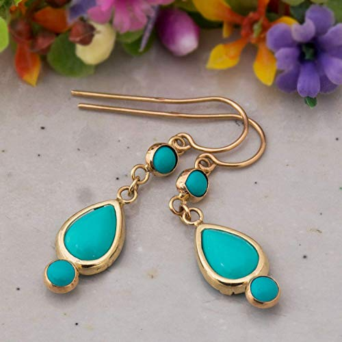14K Gold Turquoise Dangle Earrings - 14K Solid Yellow Gold Earrings with December Birthstone, 3 Turquoise Dainty Stones Drop Earrings: Main stone 7x10mm and two 4mm Stones, Handmade Jewelry for Women