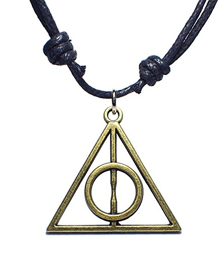 Harry Potter Hermione Costume Ideas (BDJ Antique Bronze Deathly Hollow Charm Pendant Adjustable Cord Necklace)