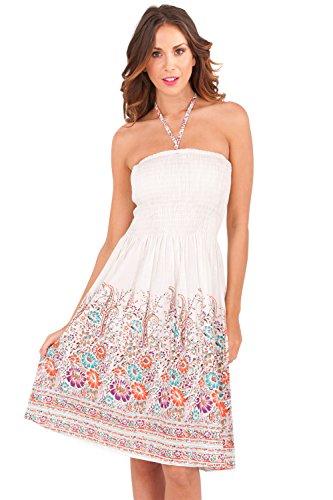 Dannii Matthews - Falda - sujetador bandeau - Floral - Sin mangas - para mujer blanco/rosa