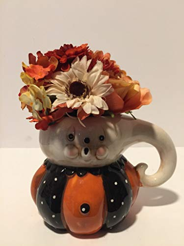 HALLOWEEN SCARY - CERAMIC HALLOWEEN GHOST CHARACTER MUG VASE - FALL COLORED MIXED FLORAL - TABLETOP DECORATION - HALLOWEEN DECORATION - FALL DECORATIONS -