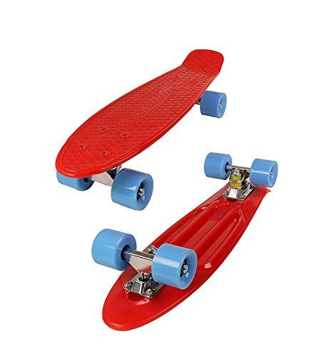 lete Skateboard | Pro/Beginner | Metal Bearings | 22 Inch Vintage Style with Interchangeable Wheels (Red/Blue) ()
