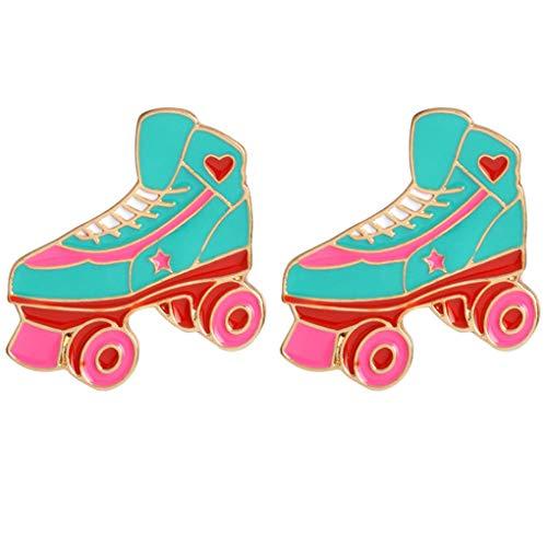 Charmart Roller Skate Lapel Pin 2 Piece Set Enamel Brooch Pin Denim Jacket Collar Badges Gifts