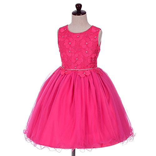 Dressy Daisy Baby Girls' Diamante Floral Motif Pageant Flower Girl Occasion Dresses Toddler Size 3T Hot Pink