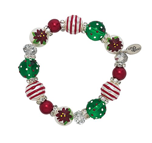 Clementine Design Kate & Macy Poinsettia Pearl Bracelet Painted Glass Beads Rhinestones